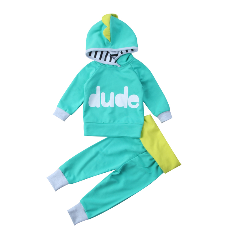 New Fashion Newborn Baby Boys Girl Clothes 3D Dinosaur Hooded Outerwear Tops Long Pants Outfits Clothes