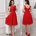 Red Short Bridesmaid Dresses Beading A-Line Off the Shoulder Chiffon Wedding Party Dresses Knee Length Maid of Honor Custom Made