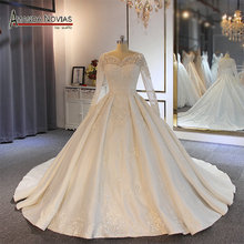 Nuova vendita calda gelinlik maniche abito da sposa designer abito da sposa