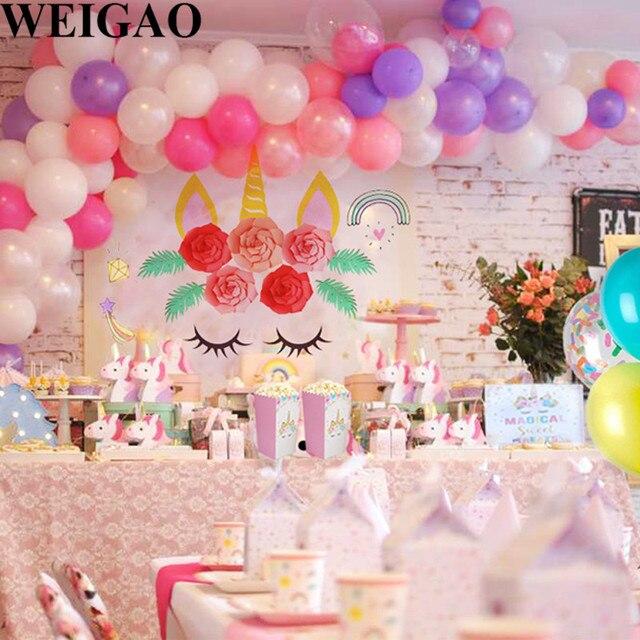 WEIGAO Unicorn Birthday Party Decor Macaron Air Balloons Chain Arch Balloon Clips Unicornio Pink First Girl Favor