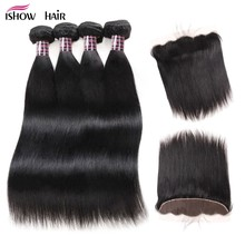 Ishow Brazilian Straight Hair Weave Bundles With Frontal Closure 13*4 Non Remy Human Hair 4 Bundles With Lace Closure Ear to Ear(China)