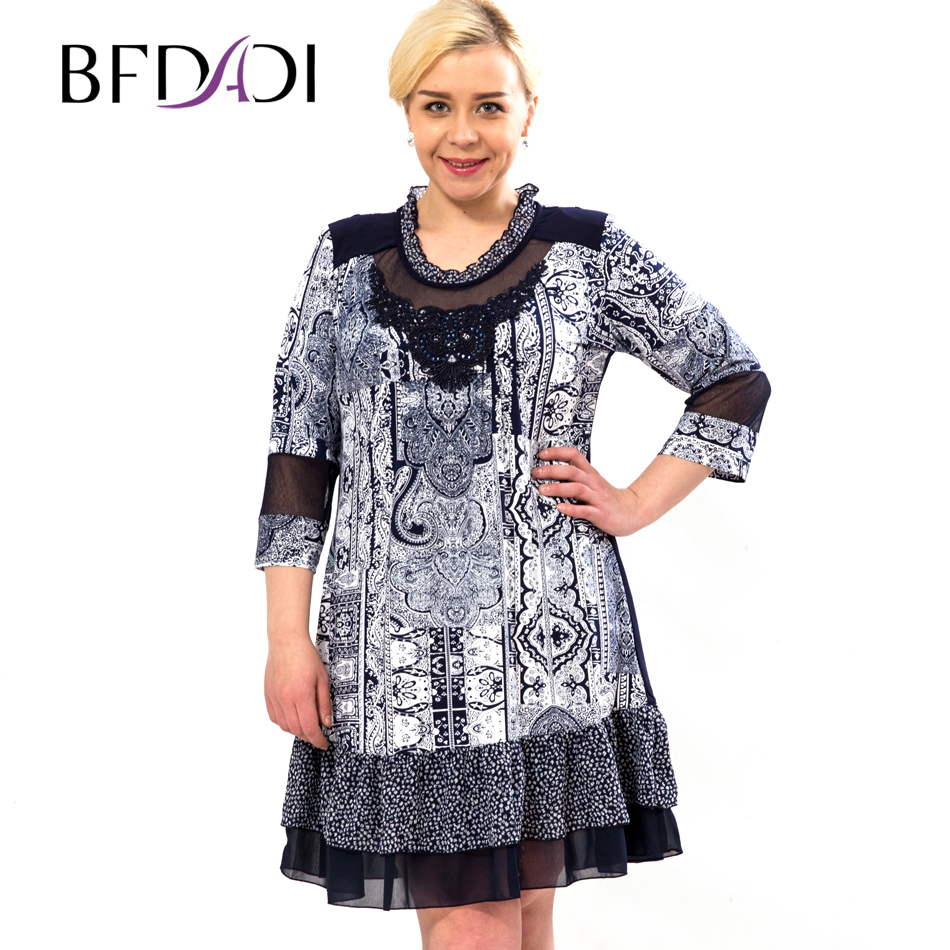 Bfdadi 2016 New Fashion Women Summer Dresses Casual Retro Print Lace Party Dress Vestidos Plus