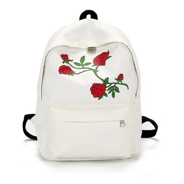 62db66adee Moon Wood Harajuku Rose Embroidery Backpack White Black Women Travel Backpack  Students Canvas Double Shoulder Bag Mochila