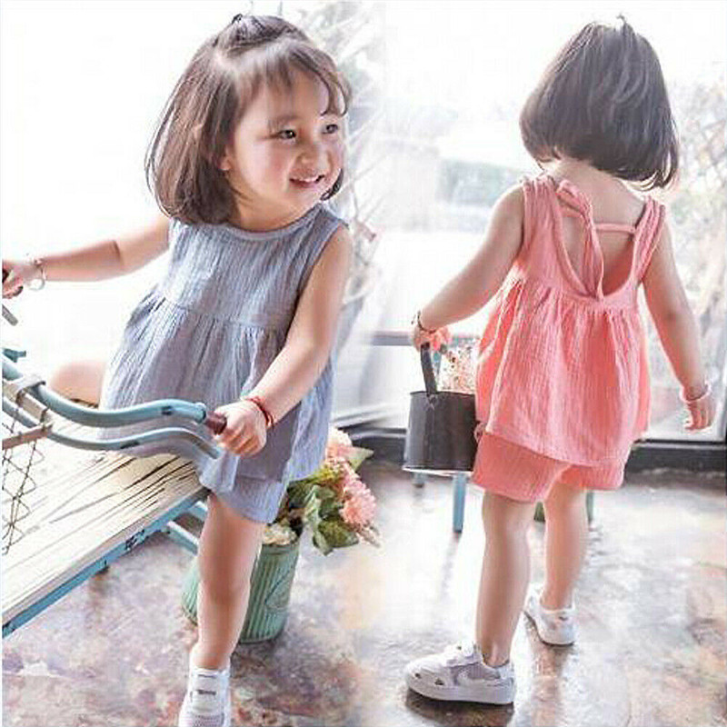 Girls' Clothing Ingenious 6m-4y Casual Kids Baby Girls Outfits Summer Cotton And Linen Clothes 2pcs Solid Sets Sleeveless Tank Dress Tops Shorts For Girl With The Best Service