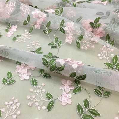 125 см розовое цветочное изображение зеленого листа кружева, вышивки на сетке ткань для поделок материалы разноцветный экран вышивка ткань