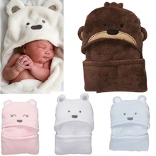 ФОТО Animal Hooded Baby Bathrobe Coral Fleece born Blankets Sleepwear Baby Clothes born wrap envelope  Sale