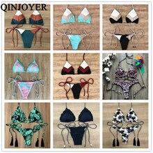 2019 Sexy Halter Swimsuit Women Thong Micro Bikini String Padded Swimwear Brazilian Bikini Bandage Tropical Plant Print Swimsuit