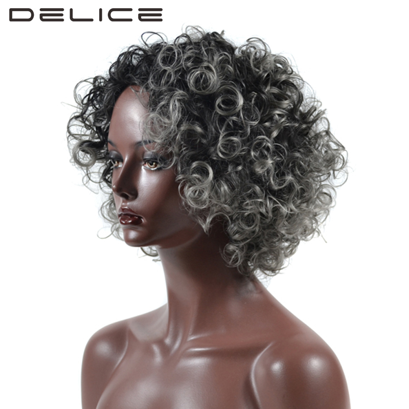 DELICE Womens Black Gray Ombre Short Afro Kinky Curly Wig African High Temperature Fiber ...