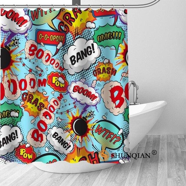 High Quality Custom Comic Pop Art Shower Curtain Polyester Fabric Bath Hooks Mildew Resistant 1PC