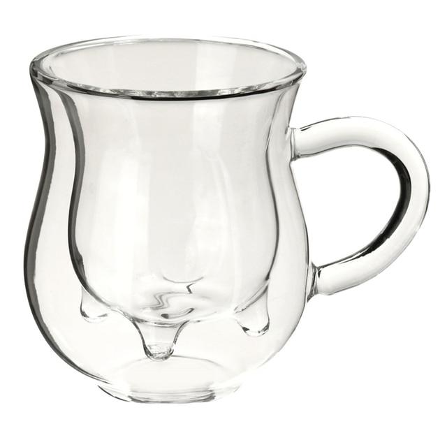 New!! 350ml Transparency Handmade Double-layer Cow Milk Glass Cup Mug Jar Heat Resistant Home Office Milk Coffee Tea Mug Gift