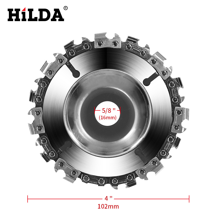 4 Inch Chain Grinder Chain Saws Disc Woodworking Slotted Saw Blade  22 Tooth Fine Abrasive Cut Chain For 100/115 Angle Grinder