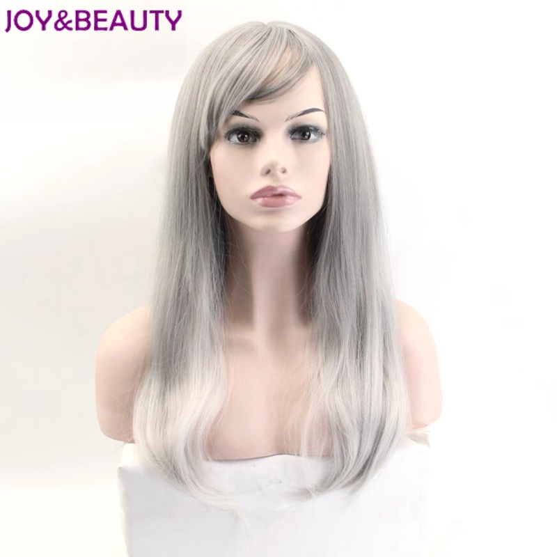JOY&BEAUTY 24inch Long Wavy Cosplay Wigs Gray White Mixed Synthetic Hair Inclined Bang High Temperature Fiber For Women Wigs