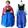 2017 Retail Lace Sequins Princess Anna Elsa Dress Kids Girls Halloween Gift Costume Snow Queen Children Birthday Party Dress