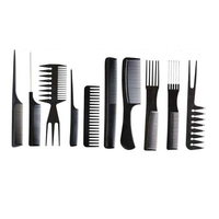 Best Deal New Good Quality 10Pcs Hair Combs Black Pro Salon Hair Styling Hairdressing Plastic Barbers