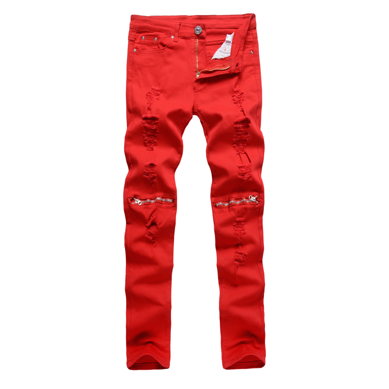 NEW Red White Black Ripped Denim Pant Knee Hole Zipper Biker Jeans Men Slim Skinny Destroyed Torn Jean Pants cotton jeans