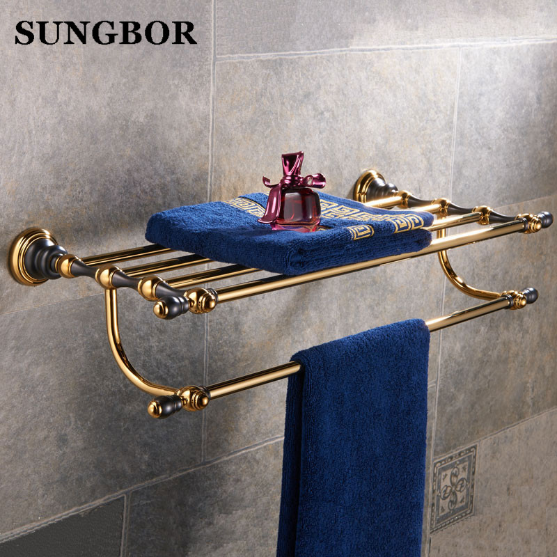 Golden luxury bathroom towel rack shelf bathroom towel shelf holder Double towel rack holder bathroom accessories SJ-8112K whole brass blackend antique ceramic bath towel rack bathroom towel shelf bathroom towel holder antique black double towel shelf