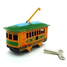 Ретро игрушки коллекции олова mkd3 Детская Металлическая ветер авто модели робота транспорт Ручной Работы Утюг декоративные CraftsTram автобус