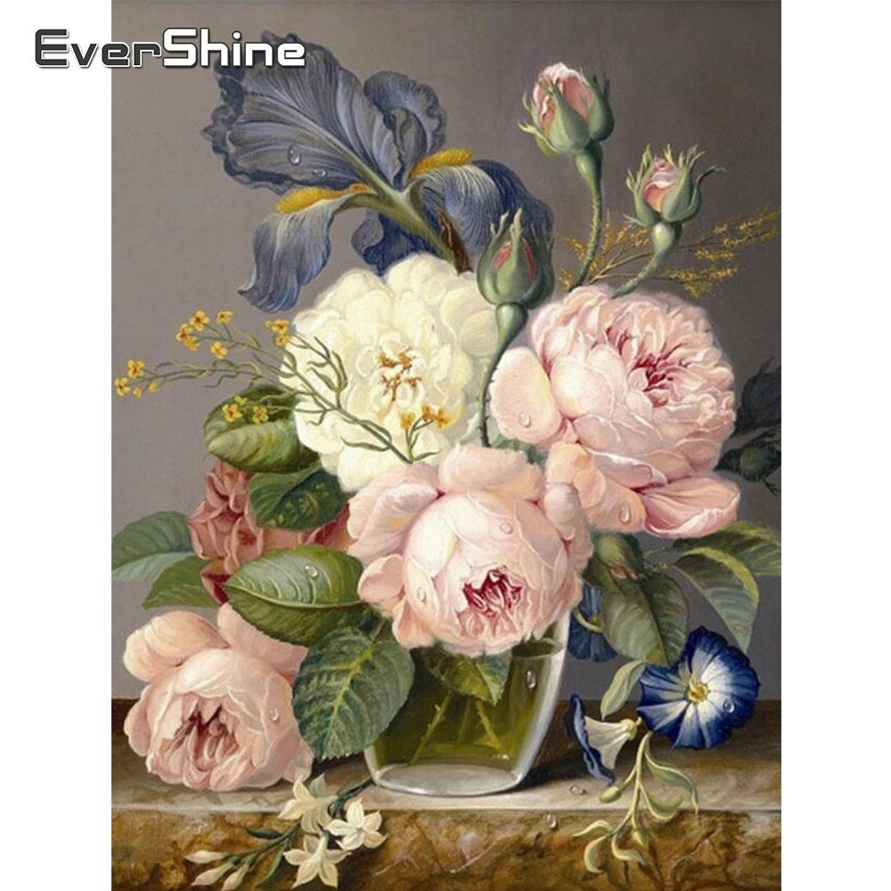 EverShine Diamond Embroidery Full Display Peony Mosaic Picture Of Rhinestones Painting Square Flowers