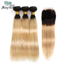 Young Look 2 Tone Ombre Straight Hair Bundles With Closure 1b/27 Malaysian Hair 3 Bundles With 4*4 Lace Closure Non-Remy Hair(China)
