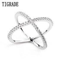 Mulheres Anéis de Camada Dupla Zircão Cúbico X Forma 925 Prata Esterlina Jóias Criss Cross Anel CZ Eternidade Meninas Longos Anéis