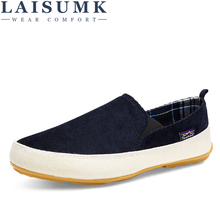 2019 LAISUMK Spring Autumn Hard-Wearing Casual Shoes Canvas Rubber Men Shoes Breathable Shoe Male Footwear Denim Worker Shoes