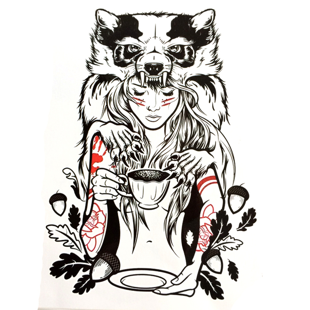 Druid Girl Waterproof Temporary Tattoo Sticker Civet Cats Arm Tattoo