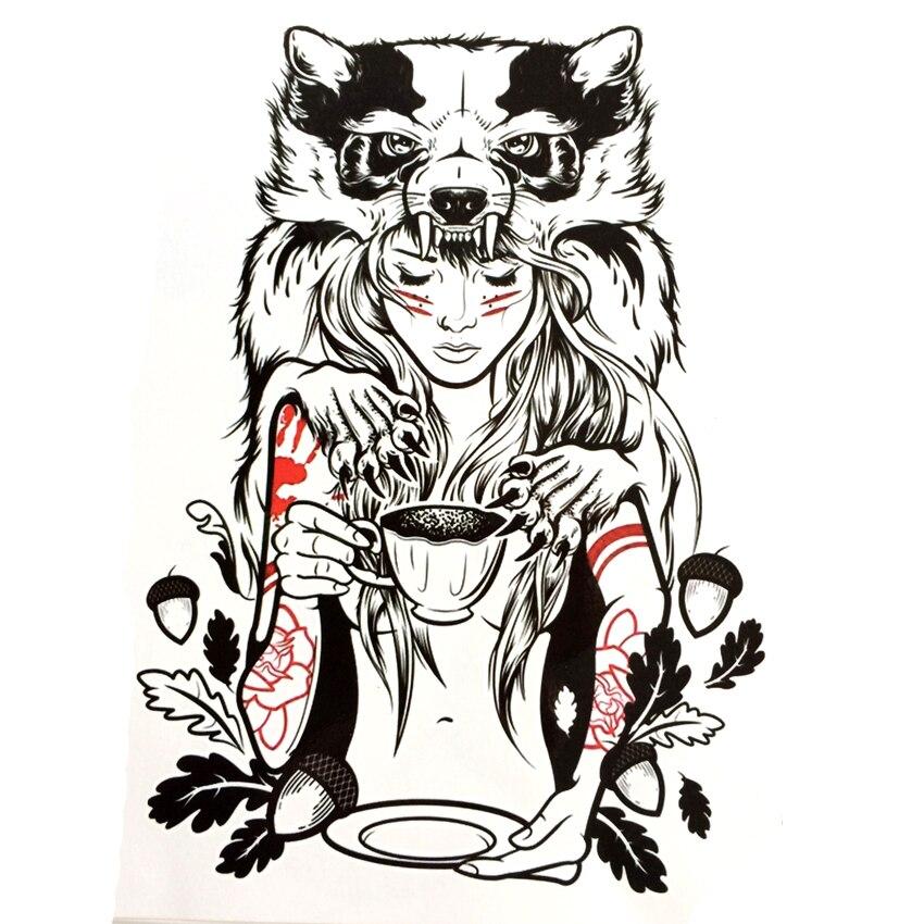 Druid Girl Waterproof Temporary Tattoo sticker Civet cats arm tattoo sleeve flash tattoo tatouage tatoo sleeve jesus couronne