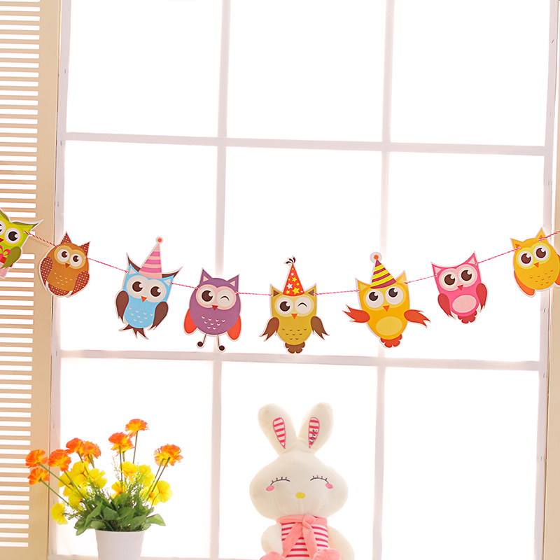 Cartoon Owl Animals Family Baby Garland Striped Paper Flags Banner Home Decor Birthday Party
