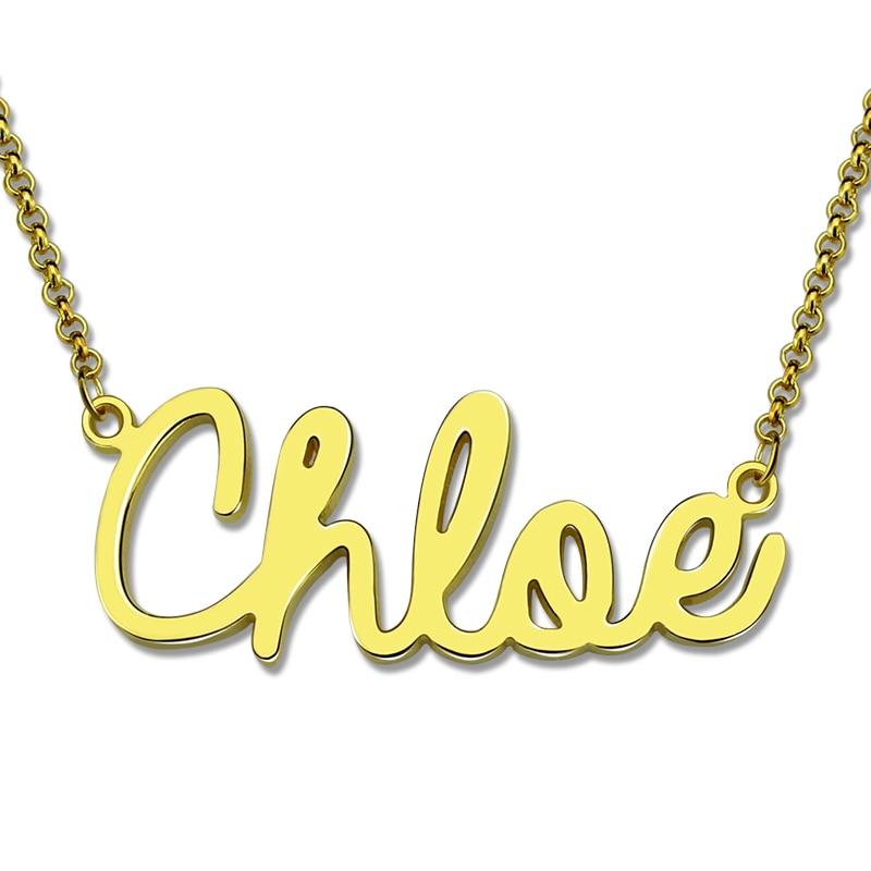 Großhandel Personalisierte Cursive Name Halskette Gold Farbe
