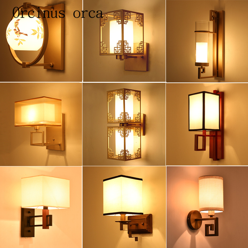 The new Chinese style living room bedroom bedside lamp wall lamp corridor stair lamp simple hotel custom wall lamp the new chinese iron wall lamp bedside lamp wall lamp rectangular chinese bedroom living room antique hotel wall light