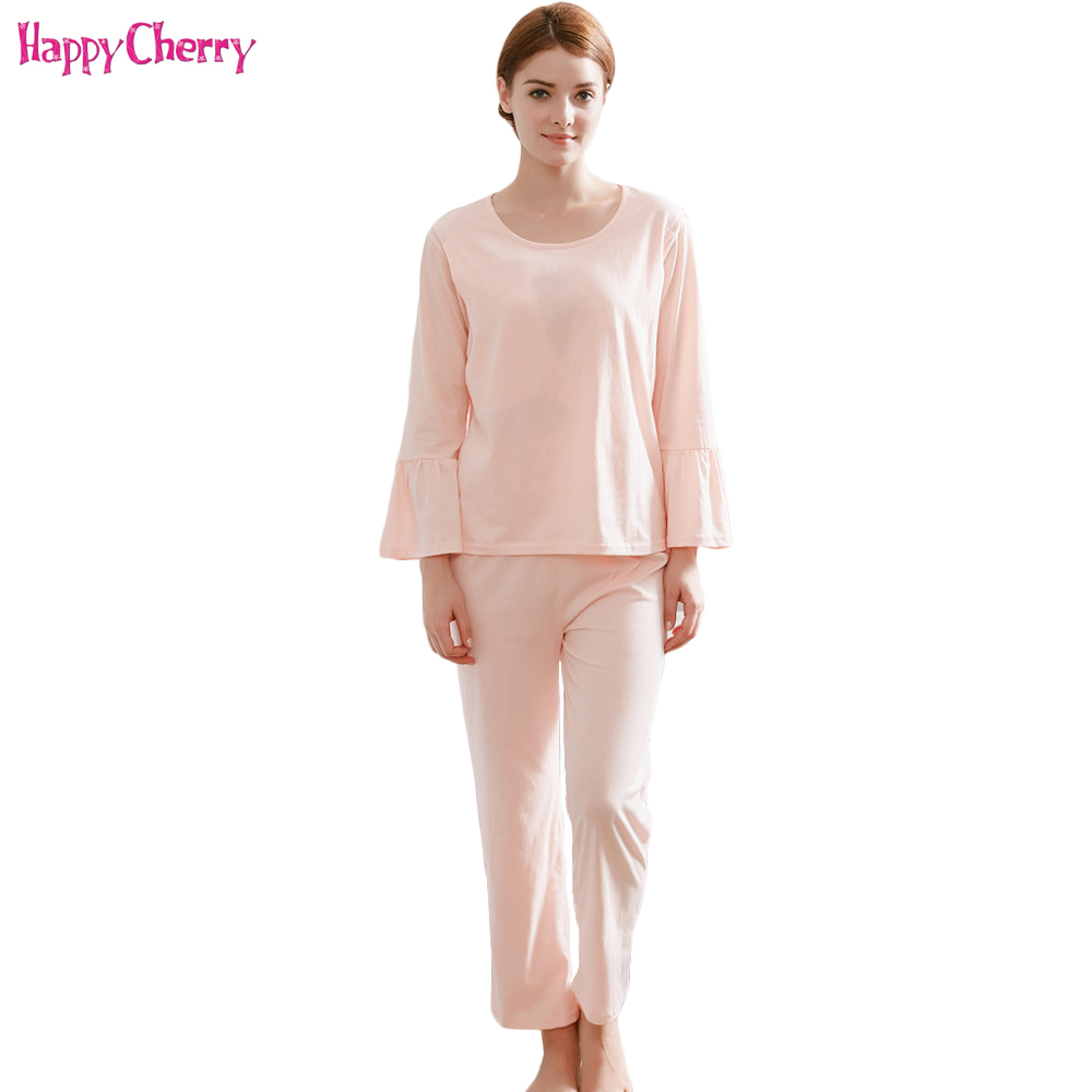 Happy Cherry Maternity Breastfeeding Clothes Sets Pregnant Women Nursing Tops Cotton Long Shirts Pants Pajama For Pregnancy