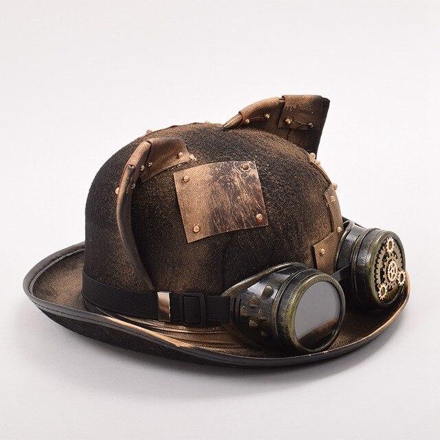 Шляпа В Стиле Стимпанк С Очками и ушками 1
