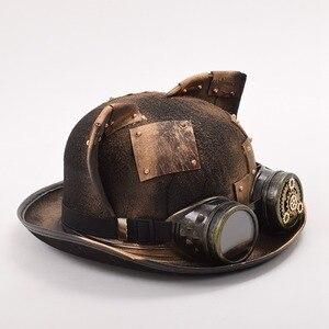 Image 2 - Steampunk czapki gotyckie ucho kota gogle melonik Topper Fedora Party akcesoria świąteczne