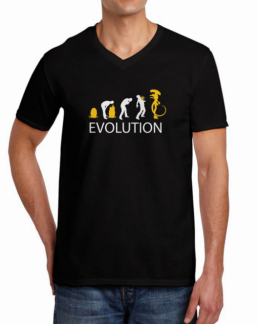 f1e20bde 2015 New Funny T shirt Alien Evolution costume alien vs predator Men's  Summer Top V-