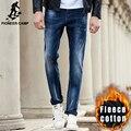 Pioneer camp outono inverno quente calças de brim dos homens marca de roupas de lã grossa calças jeans macho homens de alta qualidade denim calças 611039