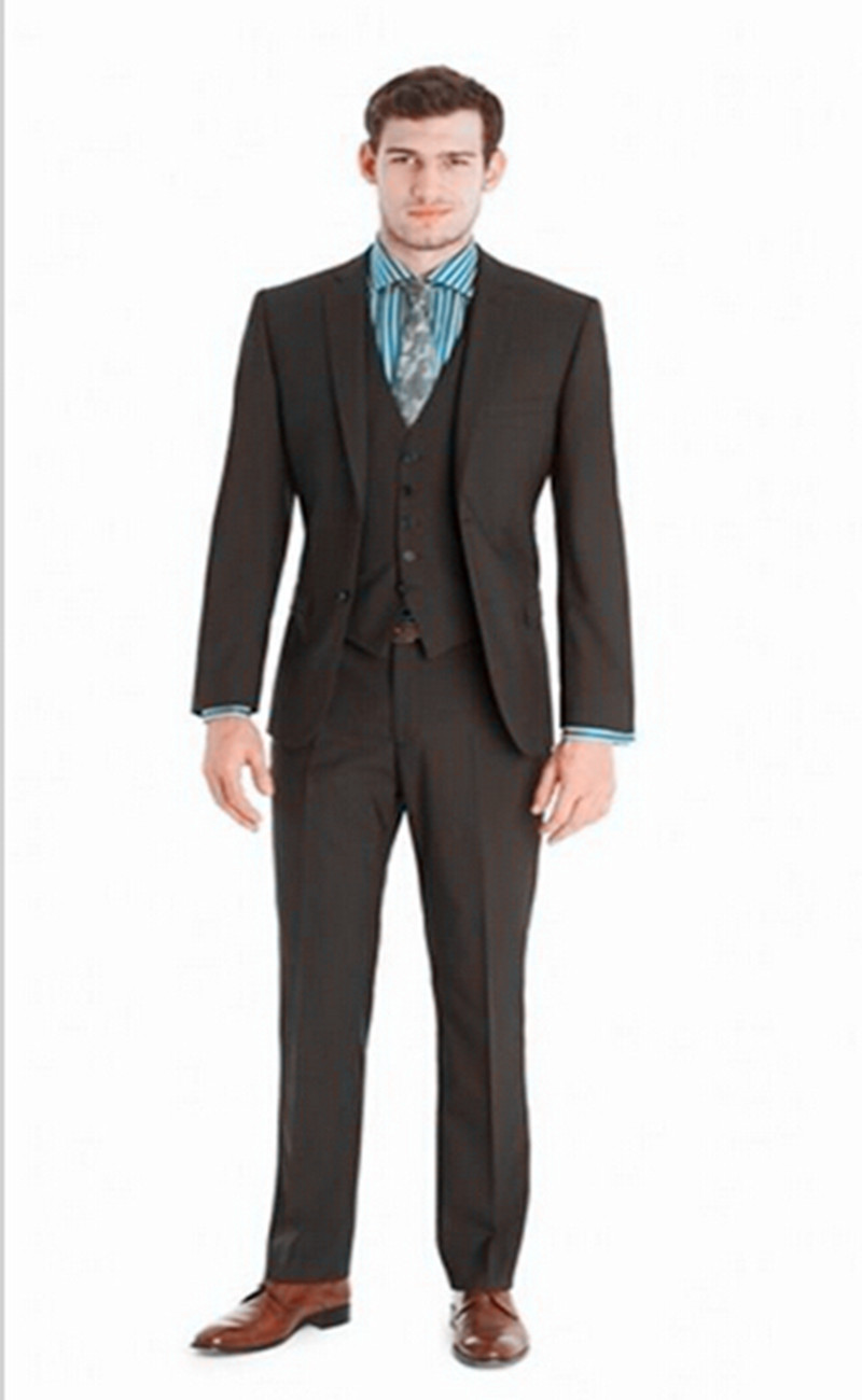 Top grade men's bussiness suits slim fit fashion brown groom suits ...