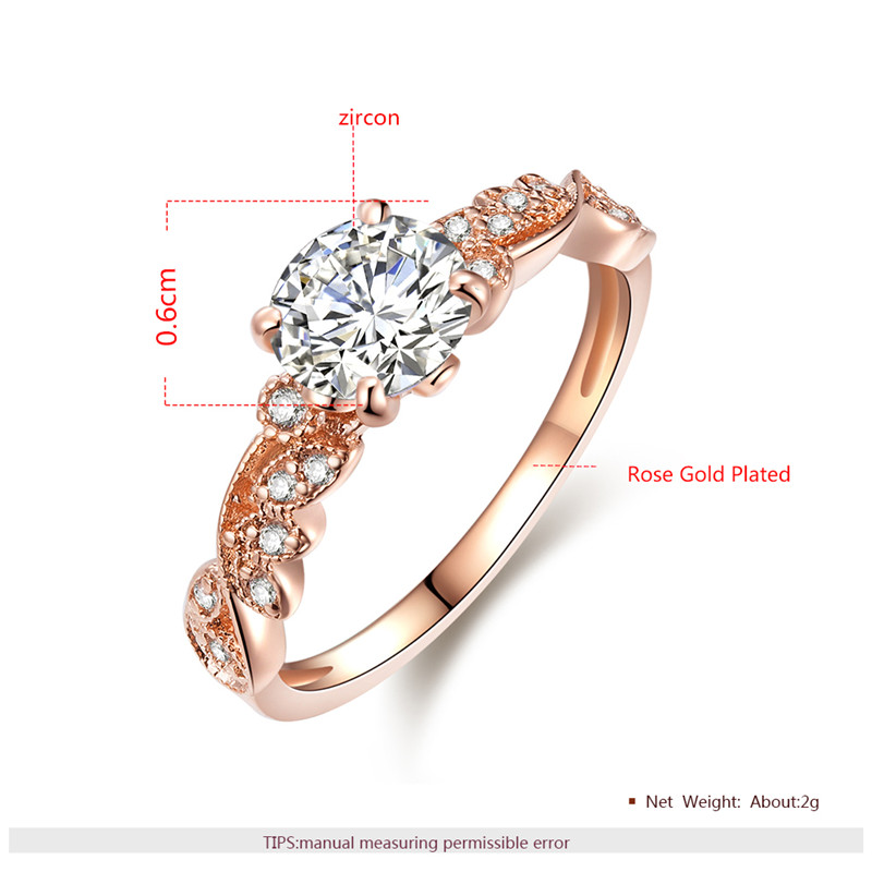 2018 New Rose Gold Color Rings Fashion Retro Flower Cubic Zirconia Engagement Thin Ring Jewelry For Women Dropshipping 1