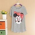 M, L, XL, Tallas grandes Mujeres tops Tee Rayas Pato Moda Señora Camisetas Tops de Marca de Dibujos Animados Camisetas 4191
