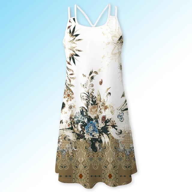 Women Dresses ESAILQ Beach Summer Dress Sleeveless Flower Print Swing Mini Dress Summer Vintage Sleeveless 3D Floral Print Bohe Tank Short Mini Dress