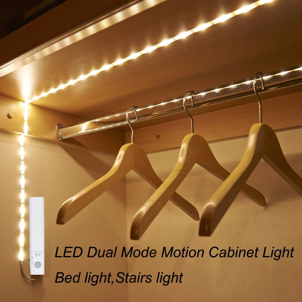 Battery Powered Bed Light with Motion Sensor&Power Adapter,Under Bed Light Motion Activated LED Strip for Kitchen Stairs Cabinet Under-cabinet lighting