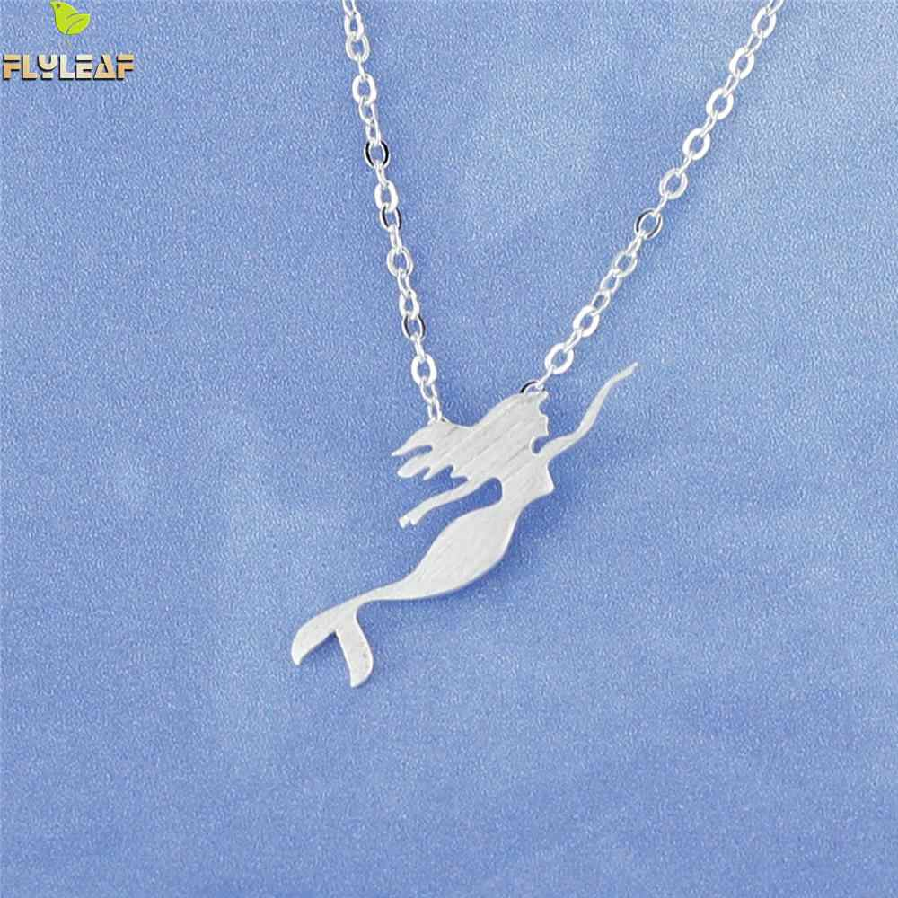 Flyleaf Brand 925 Sterling Silver Mermaid Princess Necklaces & Pendants For Women Girls Prevent Allergy Sterling-silver-jewelry