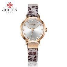Señora de Las Mujeres de Japón del Reloj de Cuarzo Horas Vestido de La Manera Pulsera de Cuero Fino Pantera Leopardo de Impresión Regalo de La Muchacha Caja de Julius