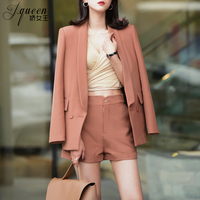 Office Lady Short Pant Suit Sets For Women formal Jacket Blazer Pink Black Fashion Summer Pantsuits Pant Suits Women Suits 2018