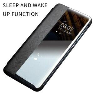 Image 2 - Ультратонкий флип чехол QIALINO из натуральной кожи для Huawei P30 Pro, 6,47 дюйма, чехол ручной работы для телефона с умным просмотром для Huawei P30