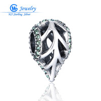 Sterling Silver Hollow Leaf Charm Pave Australian Crystal Brand Gw Fine Jewelry Beads Diy GW Fine