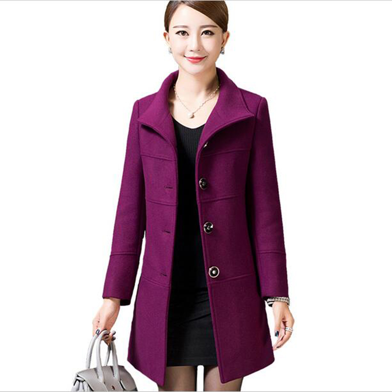 Middle Aged Women Wool Coat Nice Autumn Winter Mother Fashion Slim Long Sleeves Wool Coat High Quality Solid Color Coat LU211