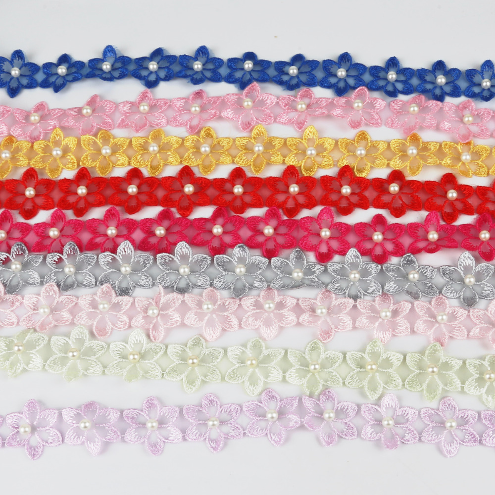 YYCRAFT 5 Yards Venise Rose Trim Wedding Bridal Ribbon Appliques Sewing Craft 5//8 Inch, Lt.Pink