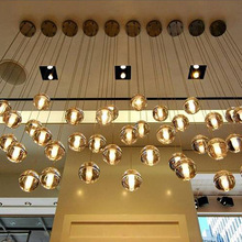 Modern LED Pendant Lights Simple Meteor Crystal Glass Ball Lamps Lighting Personality Staircase Hanging Kitchen