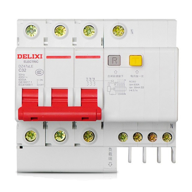 """Miniature Circuit Breaker Air Switch DZ47sLE 3P+N  DELIXI MCB 3Pole +N  """"C"""" Curvers  6A 63A  6A 10A 16A 20A 25A 32A 40A 50A 63A-in Circuit Breakers from Home Improvement    1"""