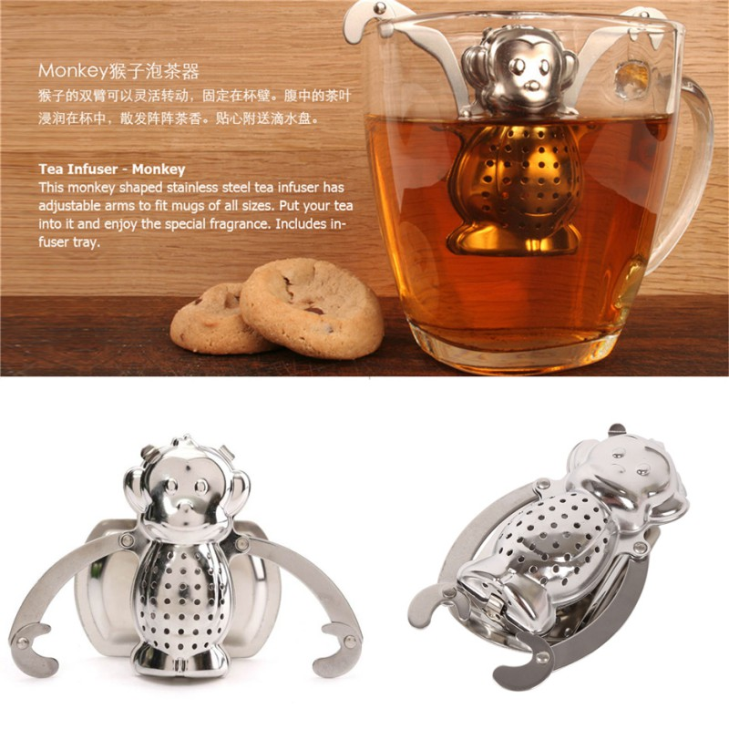 With Tray 6.5*5 cm Stainless Steel Metal Monkey Tea Making Equipment for Hot Winter Working Days